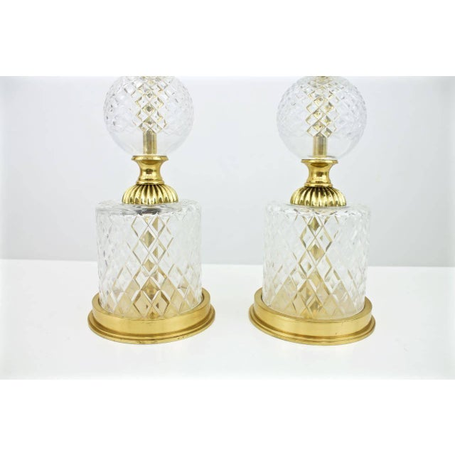 Pair of Textured Glass and Brass Table Lamps, 1960s For Sale - Image 4 of 7
