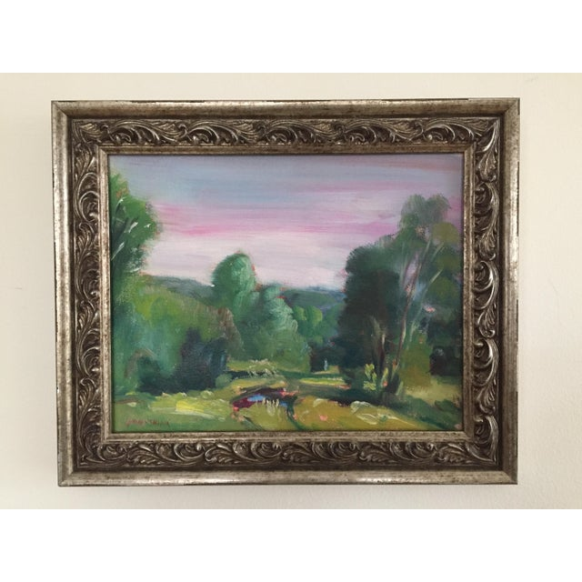 Green Missouri Ozark Countryside Impressionistic Plein Air Painting For Sale - Image 8 of 8