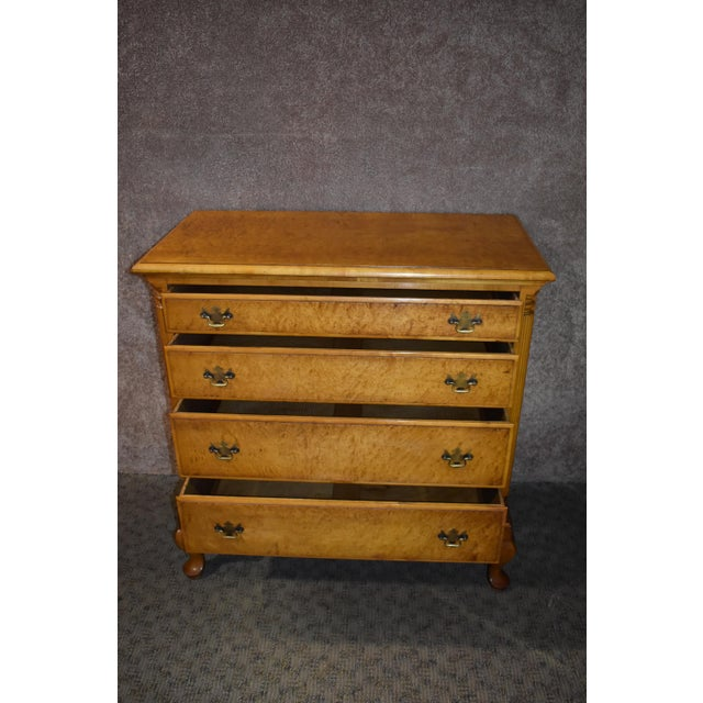 1950's Antique Birds Eye Maple Queen Anne Style Chest For Sale - Image 4 of 13