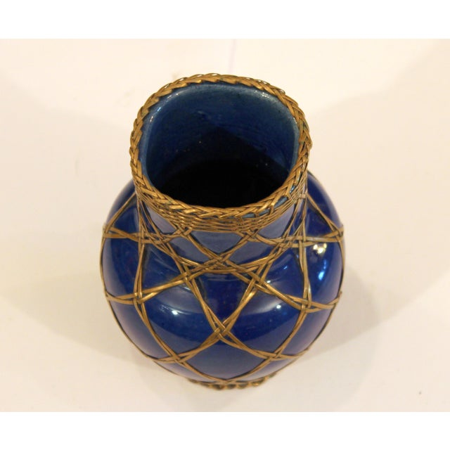 Antique Awaji Pottery Japanese Arts & Crafts Cup Brush Pot Jar Bronze Weave For Sale In New York - Image 6 of 12