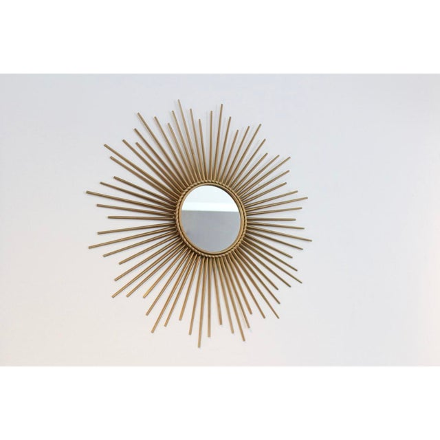 Baroque Elegant Gilded Metal Framed Sunburst Mirror by Chaty Vallauris, France 1960s For Sale - Image 3 of 7
