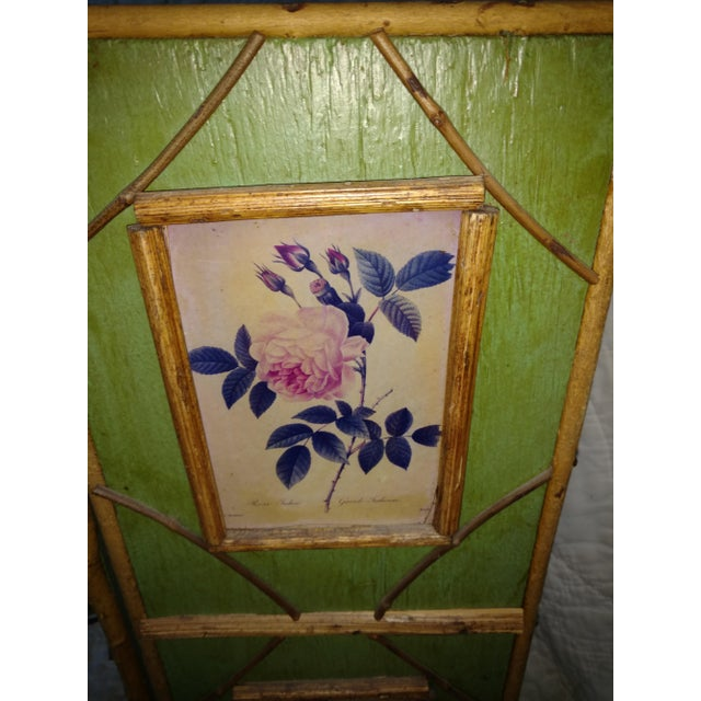 Antique Chinoiserie Green Floral Bamboo Table Screen For Sale - Image 4 of 9
