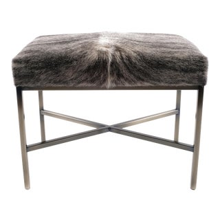Cow Hide Upholstered Bench