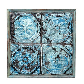 Antique Embossed Blue Tin Panel
