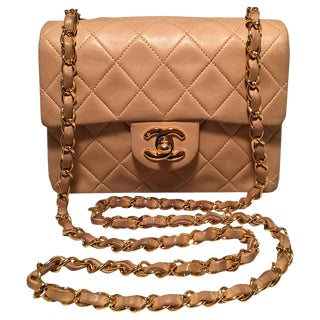 Chanel Nude Quilted Tan Leather Mini Classic Flap Shoulder Bag For Sale