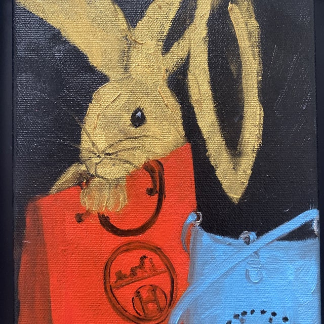 "Canvas ""Bunny With Blue Hermès"" Contemporary Acrylic Painting, Framed For Sale - Image 7 of 11"