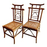 Image of Chinoiserie Pagoda-Back Side Chairs, Set of 4 For Sale