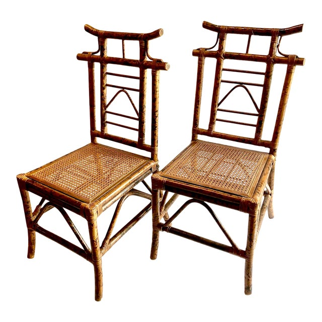 Chinoiserie Pagoda-Back Side Chairs, Set of 4 For Sale