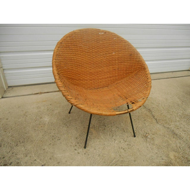 Black Iron & Wicker Atomic Saucer Disc Chair - Image 2 of 5