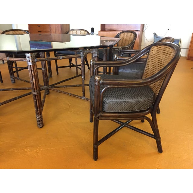 Wood McGuire Octagonal Bamboo and Glass Dining Table and Matching McGuire Rattan Chairs -Set of 8 For Sale - Image 7 of 13