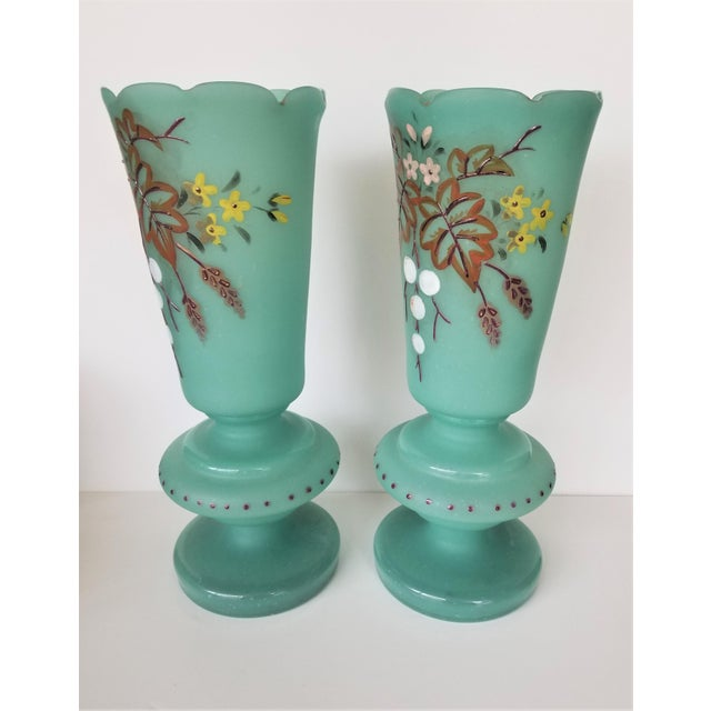 """Gorgeous pair of Victorian Bristol frosted glass """"mantle"""" vases feature a hand painted floral design on gorgeous turquoise..."""