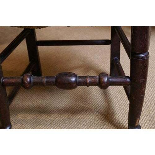 Primitive 18th Century 1780 English Oak & Rush Seat Chair For Sale - Image 3 of 5