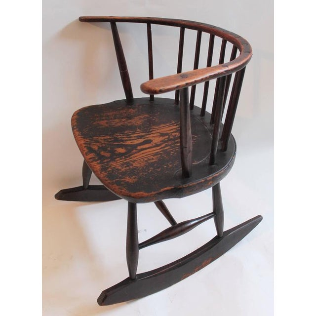Brown Rare 18th Century Low Back Original Red Painted Windsor Rocking Chair For Sale - Image 8 of 10
