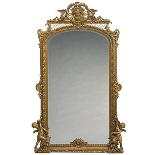 Monumental French Louis XVI Style Giltwood Mirror, 19th Century For Sale