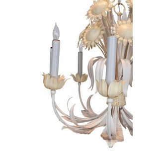 White and Yellow Painted Tole Chandelier With Sun Flower Decoration Preview