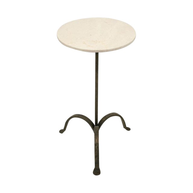 Circular Iron Tripod Drinks Table With Crema Marfil Marble Top, Bk Limited Edition For Sale