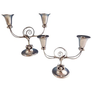 Blossom by Boardman Sterling Silver Candelabra Pair #1203 For Sale