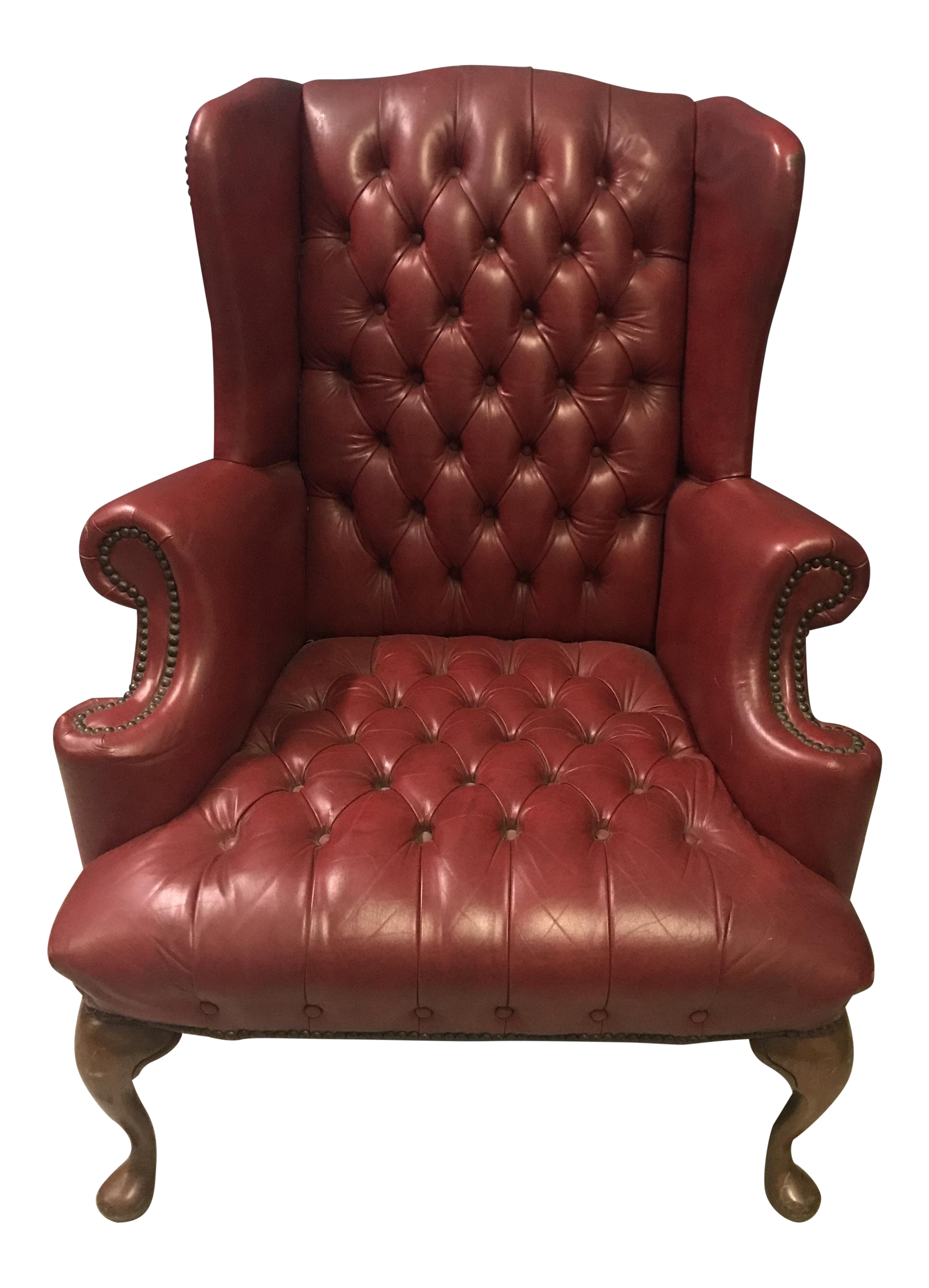 Red Vinyl Wingback Chair