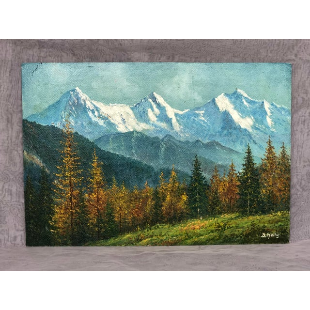 Skillfully painted in oil paint on board, this fall mountain landscape scene can be framed or propped on a shelf in almost...