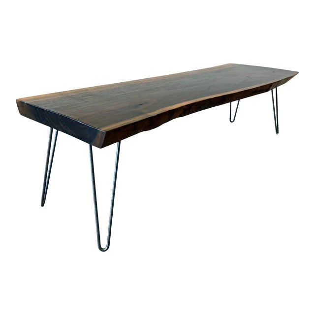 Modern Raw Edge Slab Coffee Table With Hair Pin Legs For Sale