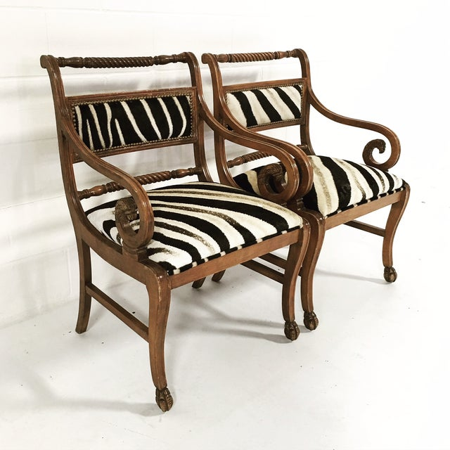 Vintage Carved Zebra Armchairs - a Pair For Sale - Image 4 of 10