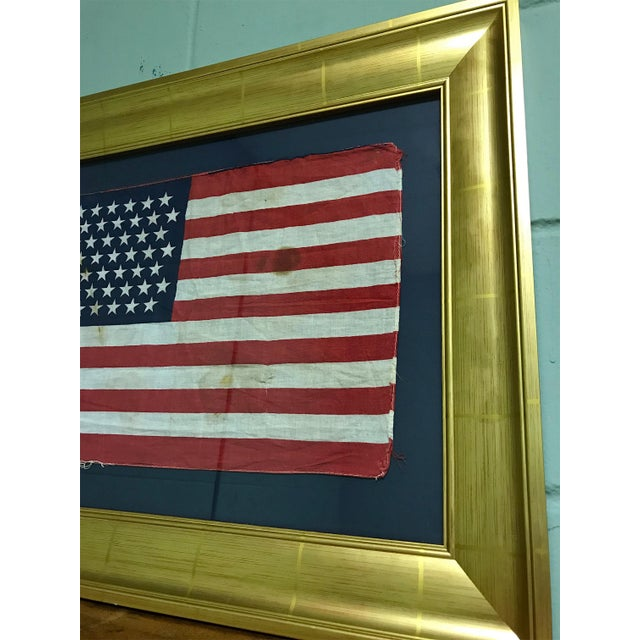 American Classical Authentic 49 Star Professionally Framed American Flag Rare Original For Sale - Image 3 of 10