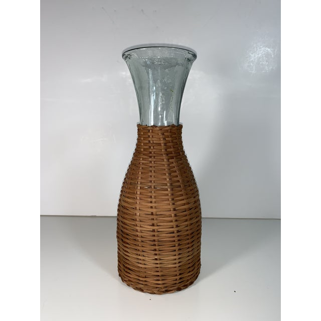 Boho Chic 1970s Wicker Wrapped Decanter For Sale - Image 3 of 9