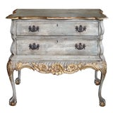 Image of A Shapely Dutch Rococo Style Grey-Green Painted 2-Drawer Chest