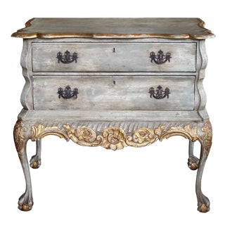 A Shapely Dutch Rococo Style Grey-Green Painted 2-Drawer Chest For Sale