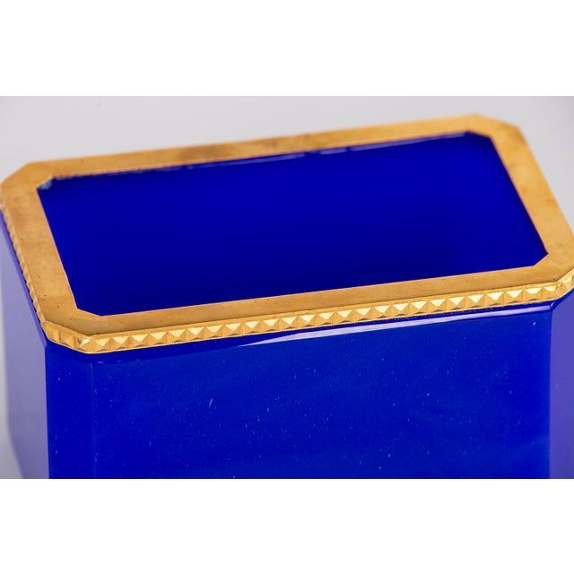 French French Royal Blue Opaline Glass Dish With Brass Mounts For Sale - Image 3 of 8