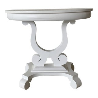 1970s Empire White Laquer Table For Sale