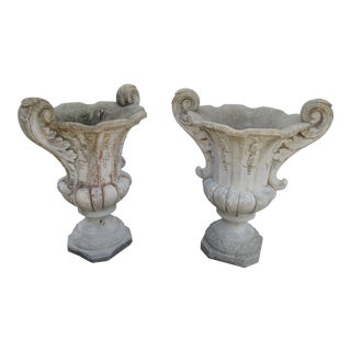 1980s Vintage Cast Stone Cement Garden Planters Urns- A Pair For Sale