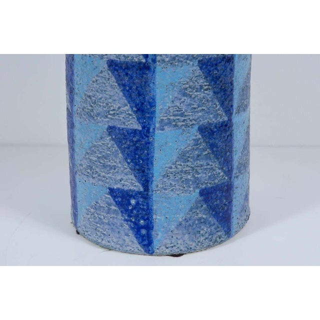 Bitossi Tall Blue Geometric Ceramic Vase For Sale In New York - Image 6 of 10