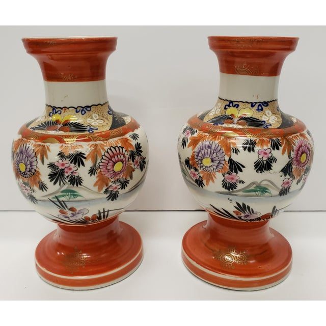 Japanese Circa 1930 Japanese Kutani Porcelain Bird/Floral Motifs Footed Baluster Vases - a Pair For Sale - Image 3 of 7