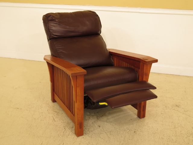 Mission Stickley Mission Style Cherry u0026 Leather Reclining Morris Chair For Sale - Image 3 of  sc 1 st  Chairish & Stickley Mission Style Cherry u0026 Leather Reclining Morris Chair ...