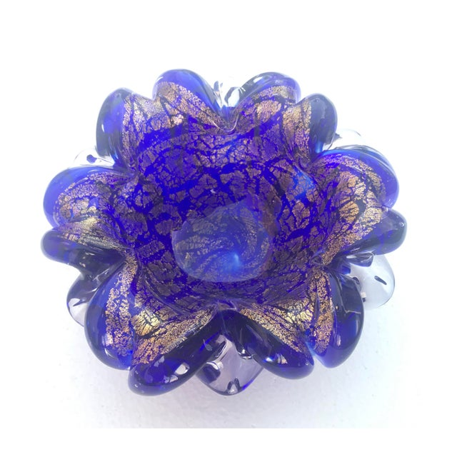 1960s 1960s Vintage Cobalt and Gold Murano Glass Bowl For Sale - Image 5 of 5