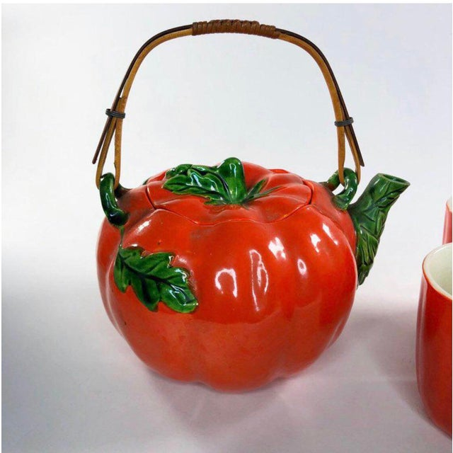 Asian 1960s Mid-Century Japanese Tomato Teapot & Cups - Set of 7 For Sale - Image 3 of 8