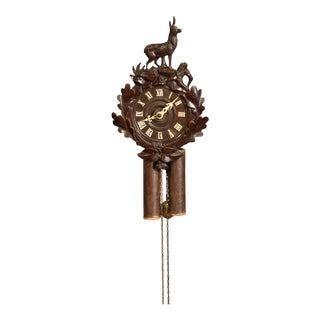 19th Century French Black Forest Carved Walnut Wall Clock With Deer