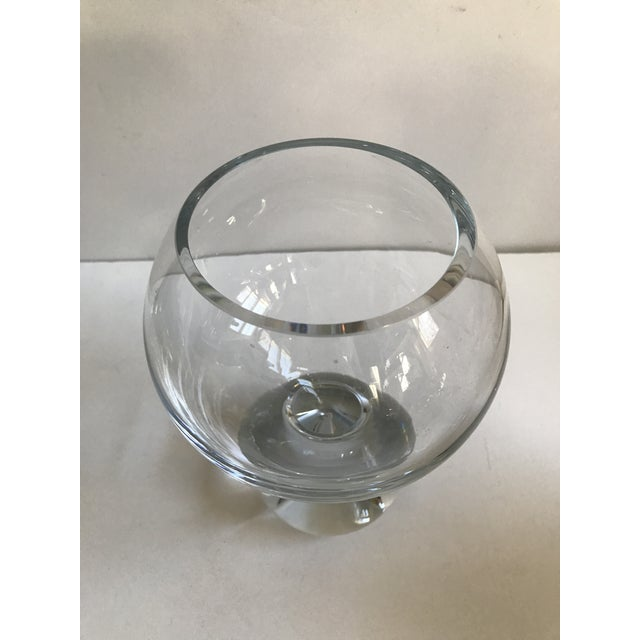 Contemporary Glass Ball Footed Vase - Image 3 of 8