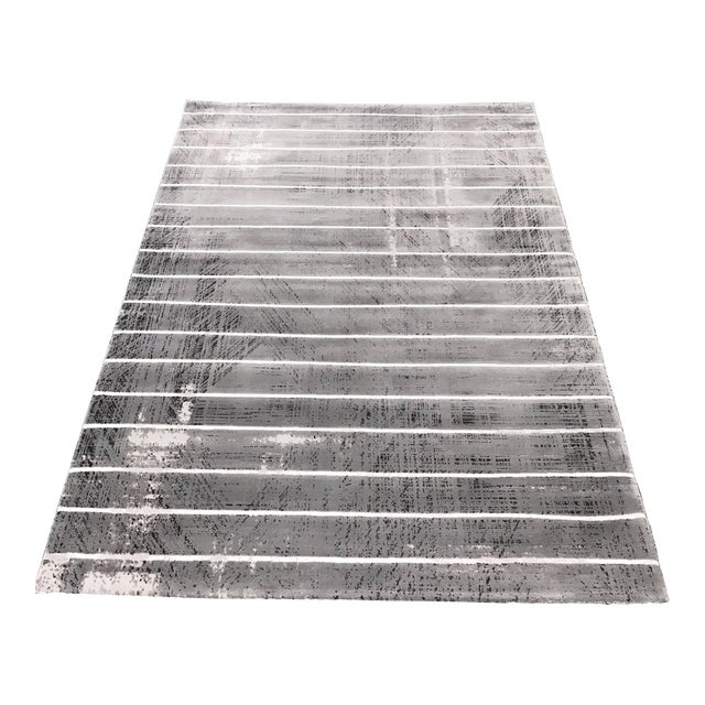 Contemporary Gray Striped Rug - 5' x 8' - Image 1 of 6