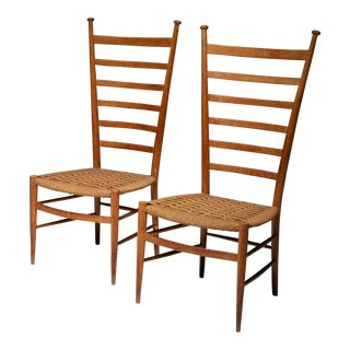 Pair of Italian 50s High Back Chairs by Sanguineti For Sale