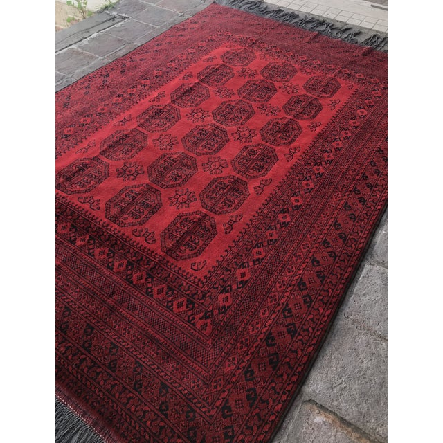 Ruby Red Vintage Hand-Knotted Wool Rug- 6′7″ × 10′7″ For Sale - Image 8 of 13