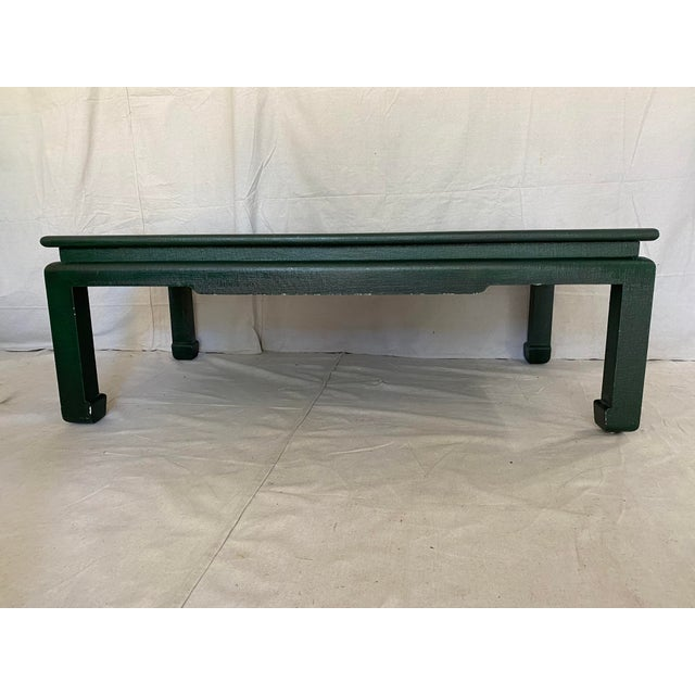 Minic Custom Woodwork Linen Grasscloth Wrapped Ming Coffee Table For Sale - Image 10 of 13
