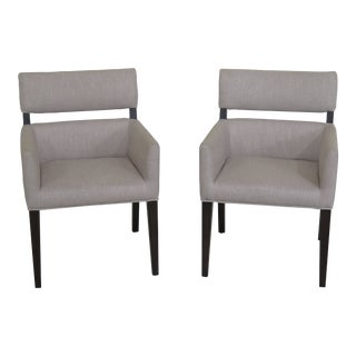 Pair Hudson Park Collection Modern Upholstered Arm Chairs For Sale