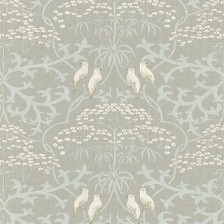 """Lewis & Wood Bella Champagne Extra Wide 52"""" Damask Style Wallpaper Sample For Sale"""
