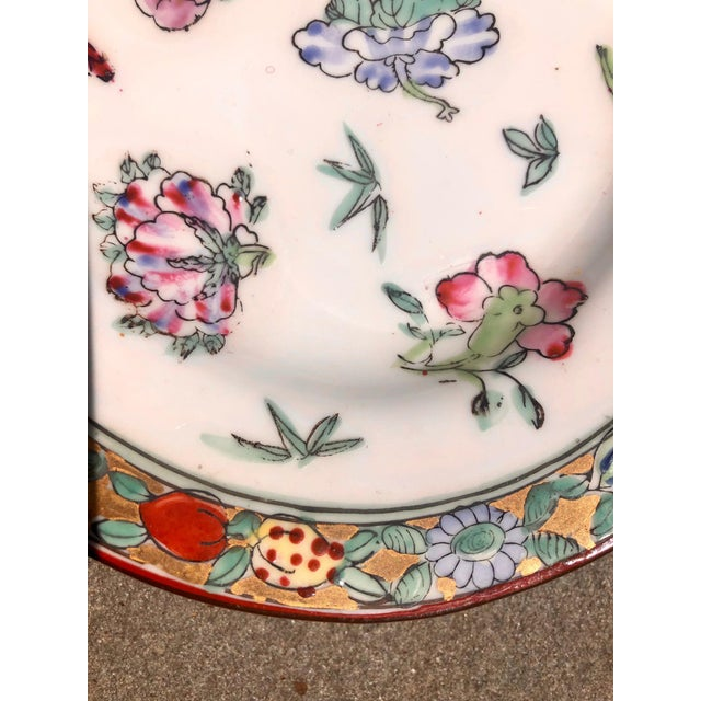 Ceramic Colorful Floral Gilt Chinoiserie Peony Platter For Sale - Image 7 of 9