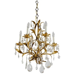 1940s Gilt Tole & Crystal Italian Chandelier For Sale