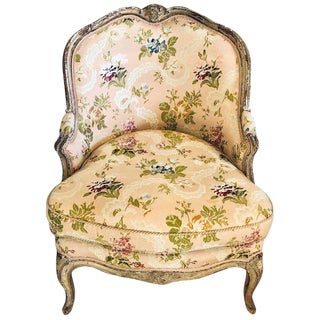 Diminutive Distressed Painted Louis XV Style Slipper Chair in Scalmandre Fabric For Sale