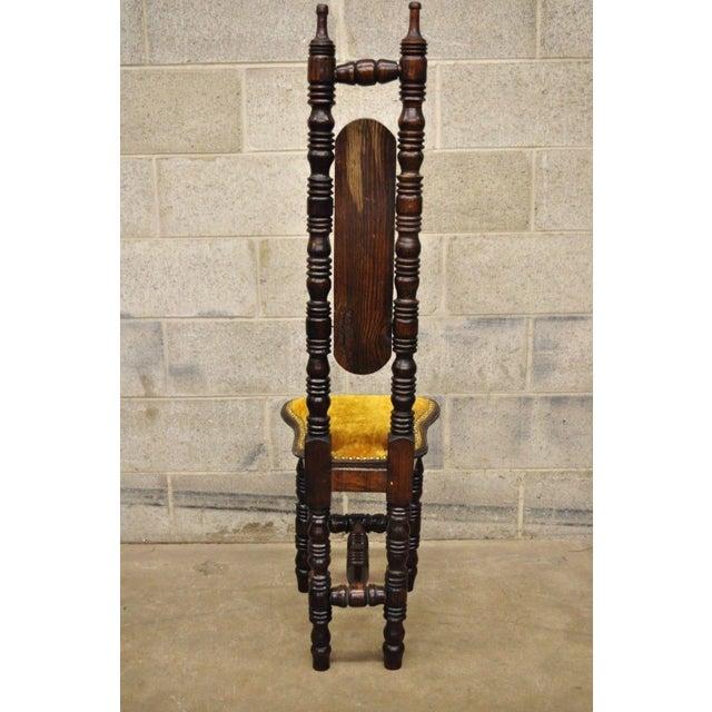 Vintage Spanish Jacobean Renaissance Revival Gothic Gold Hall Prayer Chair For Sale - Image 9 of 11