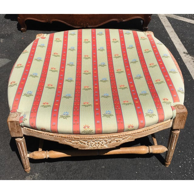 Large Regency Style Pink Striped Upholstered Ottoman For Sale - Image 5 of 6